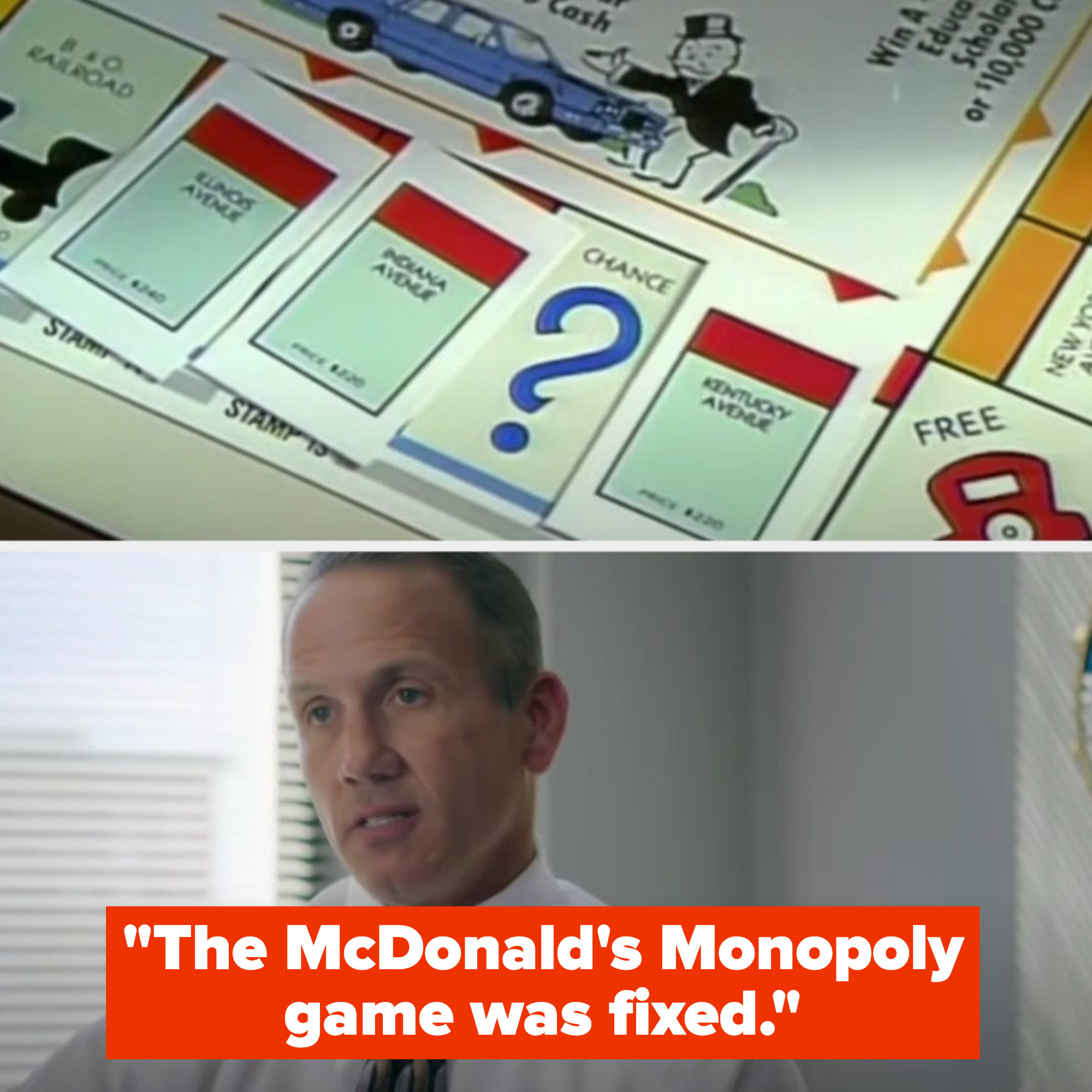 Pictures of the McDonald's Monopoly game, with a man saying it's fixed