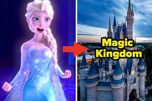 """Elsa is on the left with an arrow pointing at a castle labeled, """"Magic Kingdom"""""""