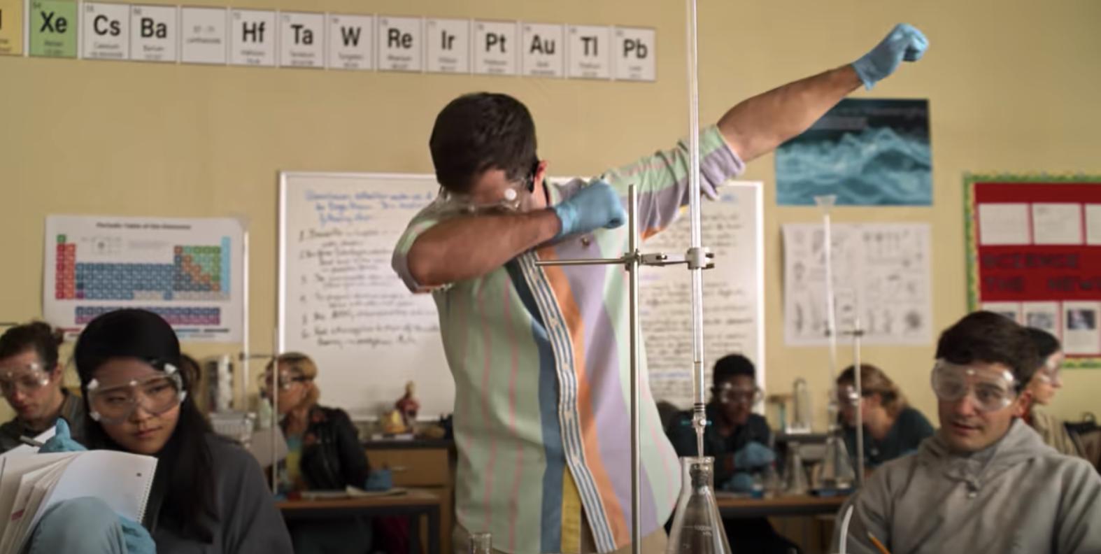 Ben Gross dabbing during science lab