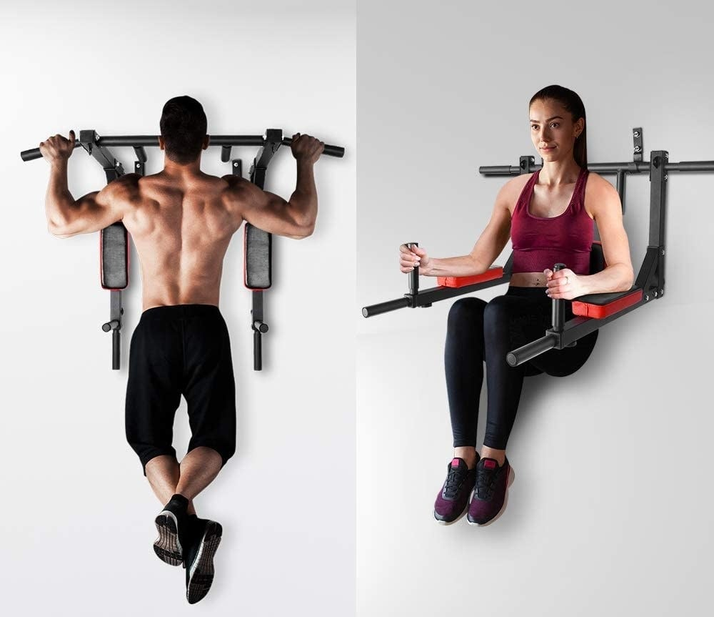 two models using the pull-up bar and dip station