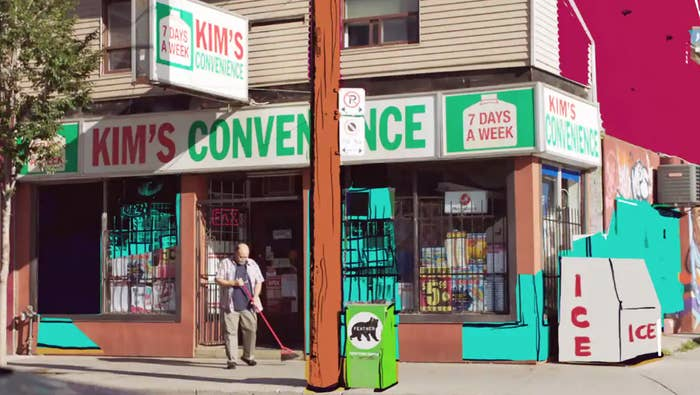 Outside shot of Kim's Convenience store