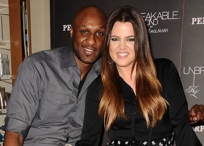 Khloé smiles next to ex Lamar Odom in an old photo