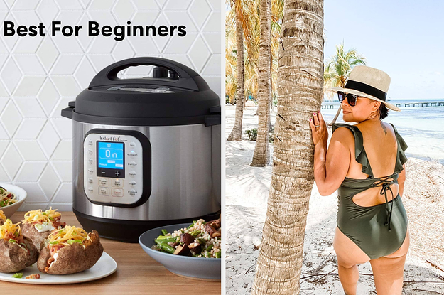 an instant pot / a green once piece swimsuit on a reviewer