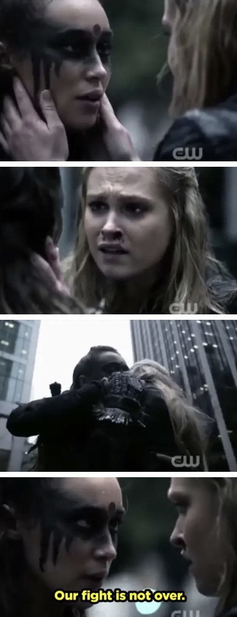 """Lexa and Clarke gaze into each others eyes passionately. Lexa grabs Clarke and pulls her in for a hug and says, """"our fight is not over."""""""