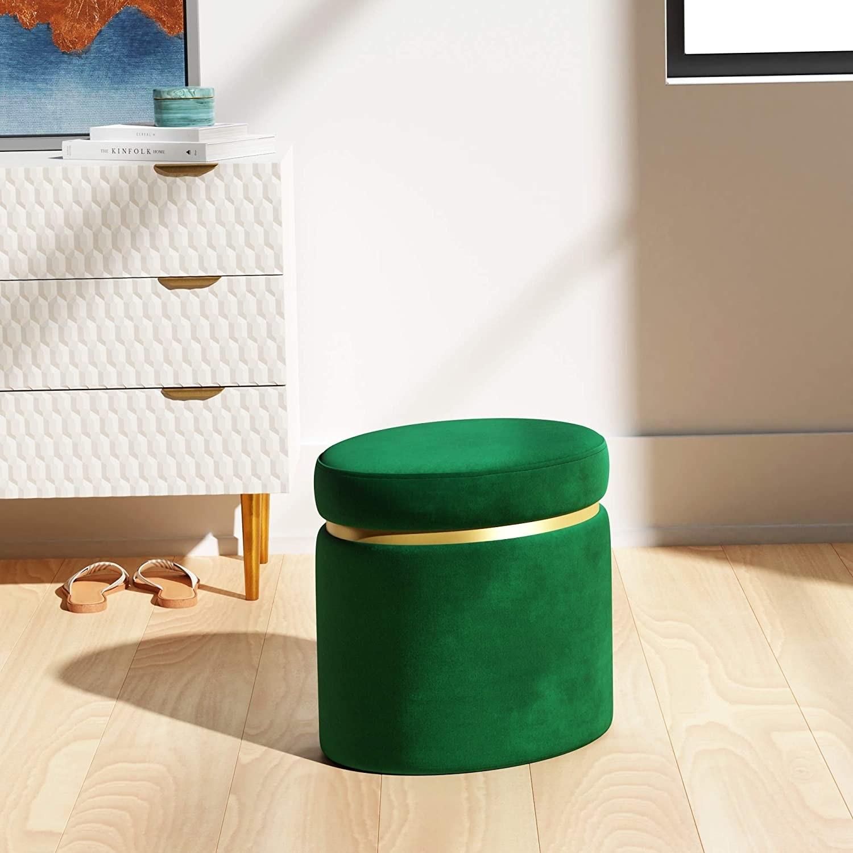 Round emerald green velvet storage ottoman