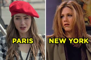 """On the left, Emily from """"Emily in Paris"""" labeled """"Paris,"""" and on the right, Rachel from """"Friends"""" labeled """"New York"""""""