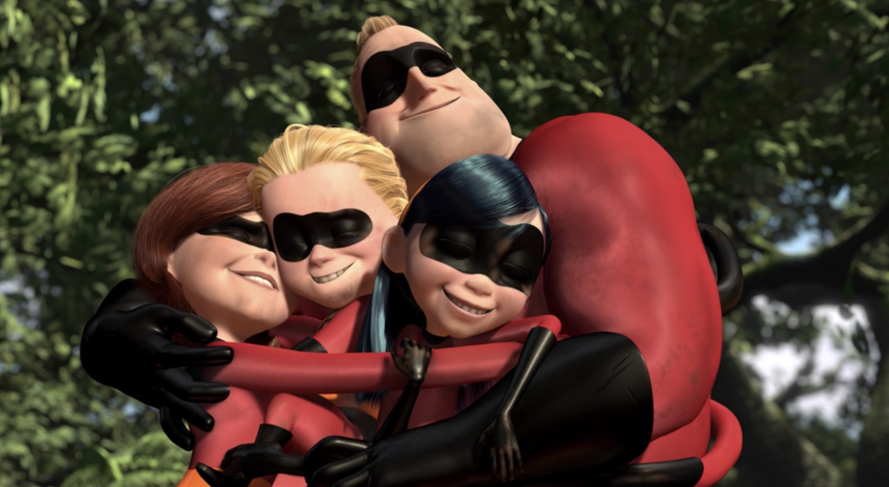 Dash, Violet, Elastigirl, and Mr. Incredible hug