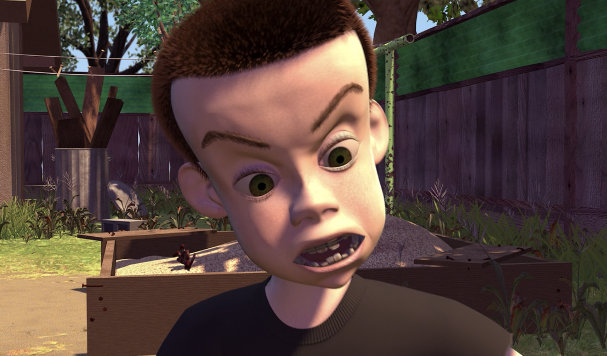 """Sid from """"Toy Story"""" sitting in the backyard"""