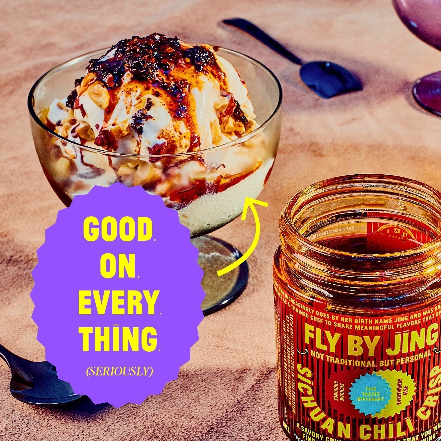 chili sauce on ice cream that says good on everything seriously