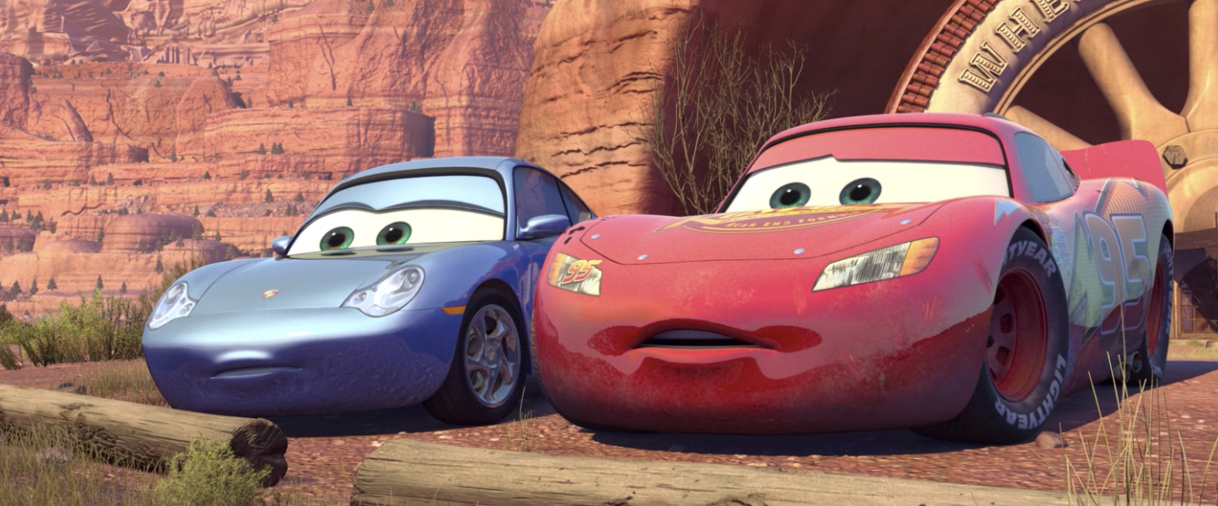 Sally and Lightning McQueen look down on Radiator Springs