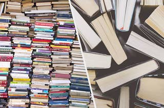 Tons of books stacked up some spine out and some page out, split with an overhead image of the top of a few books