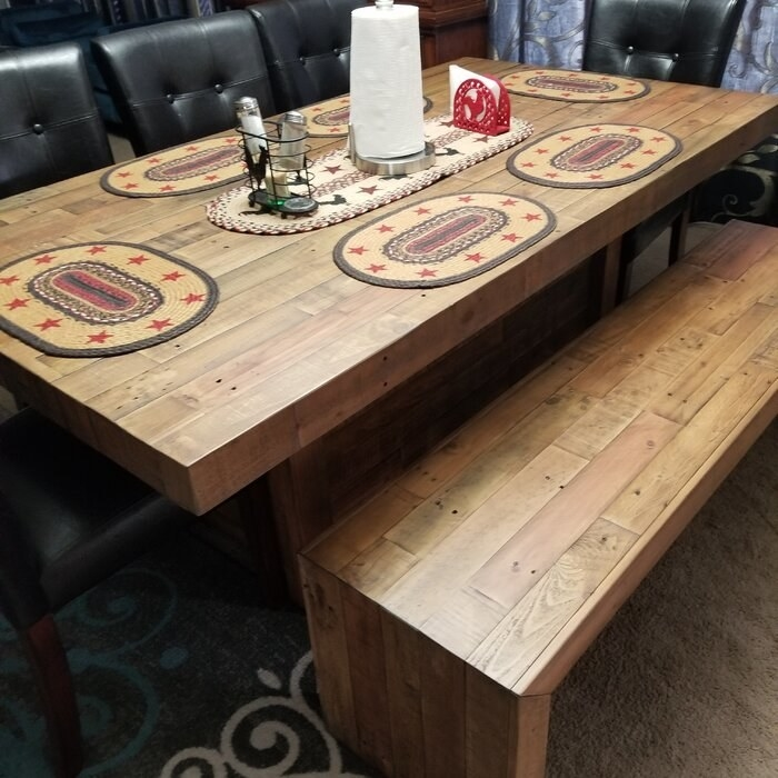 The pine table with matching bench