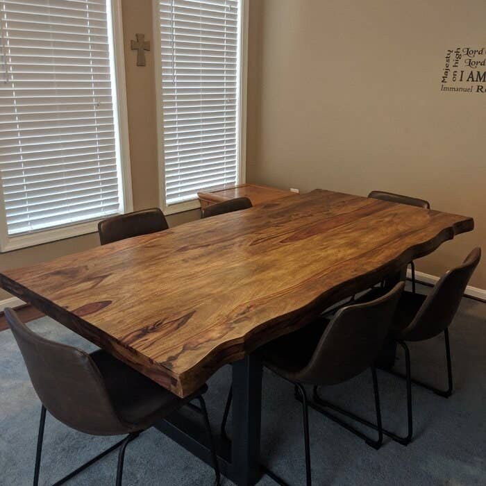 The wood top table with six chairs