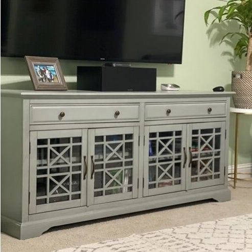 The TV stand in a living room