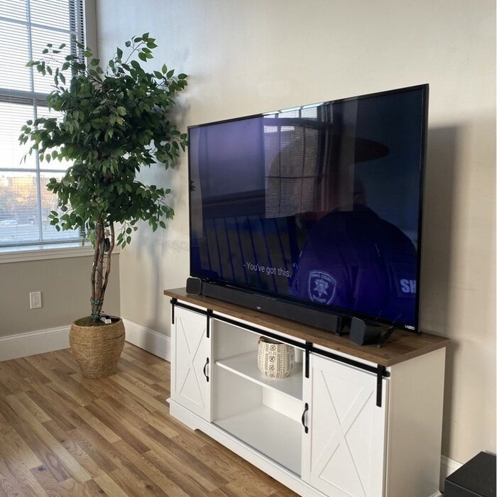 The TV stand with 65 inch TV on top