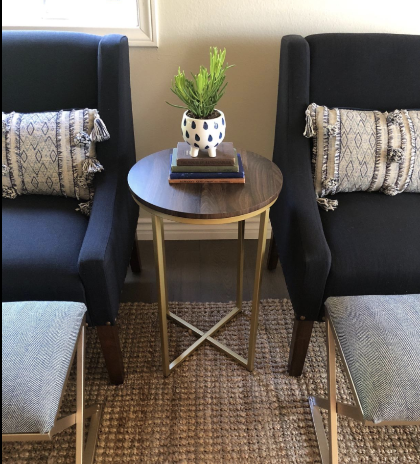 round table with gold tone legs
