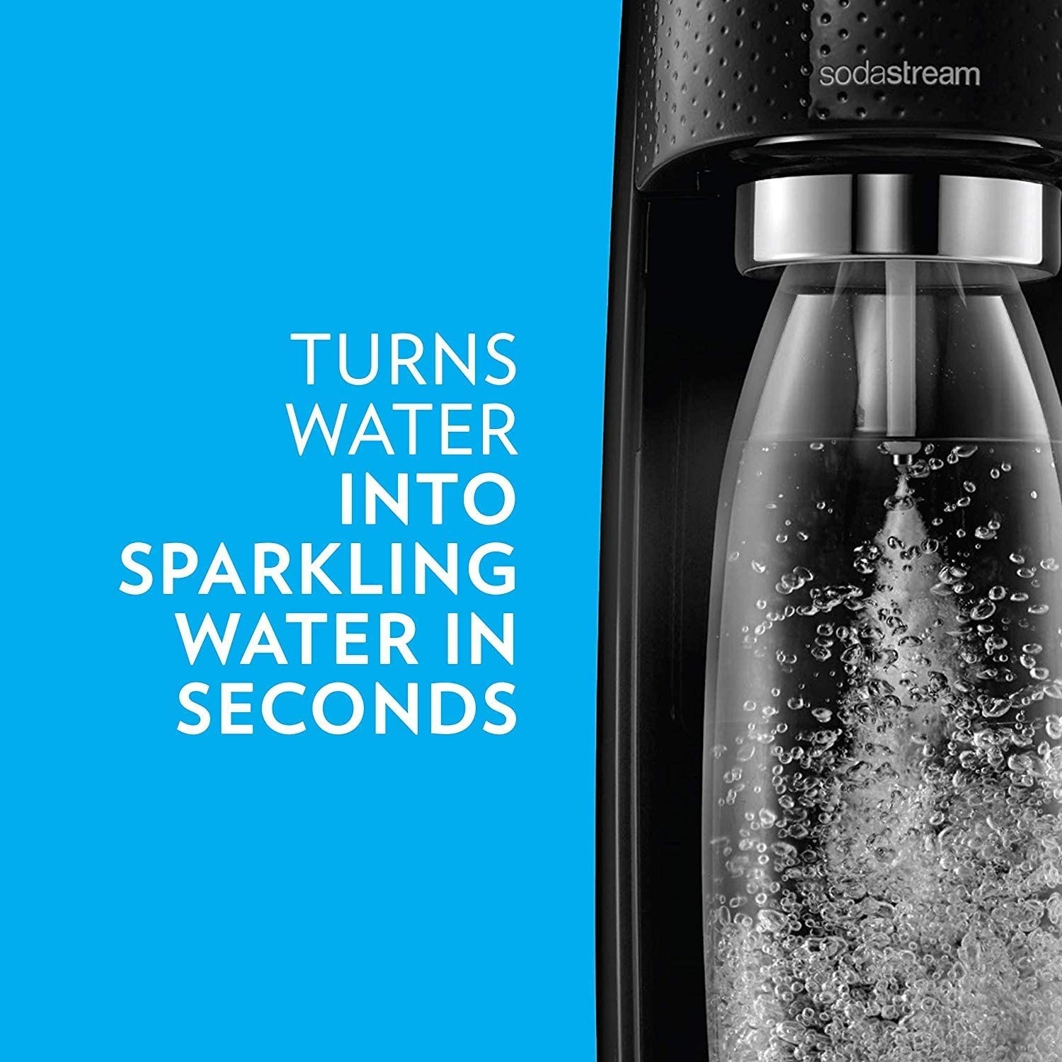 The machine in black with a canister of carbonated water
