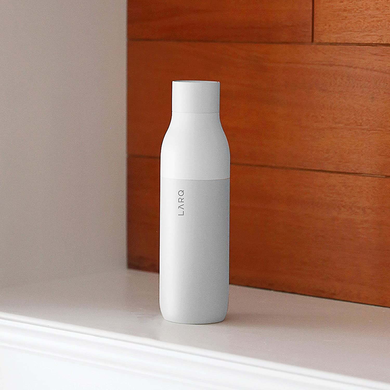 a white larq water bottle
