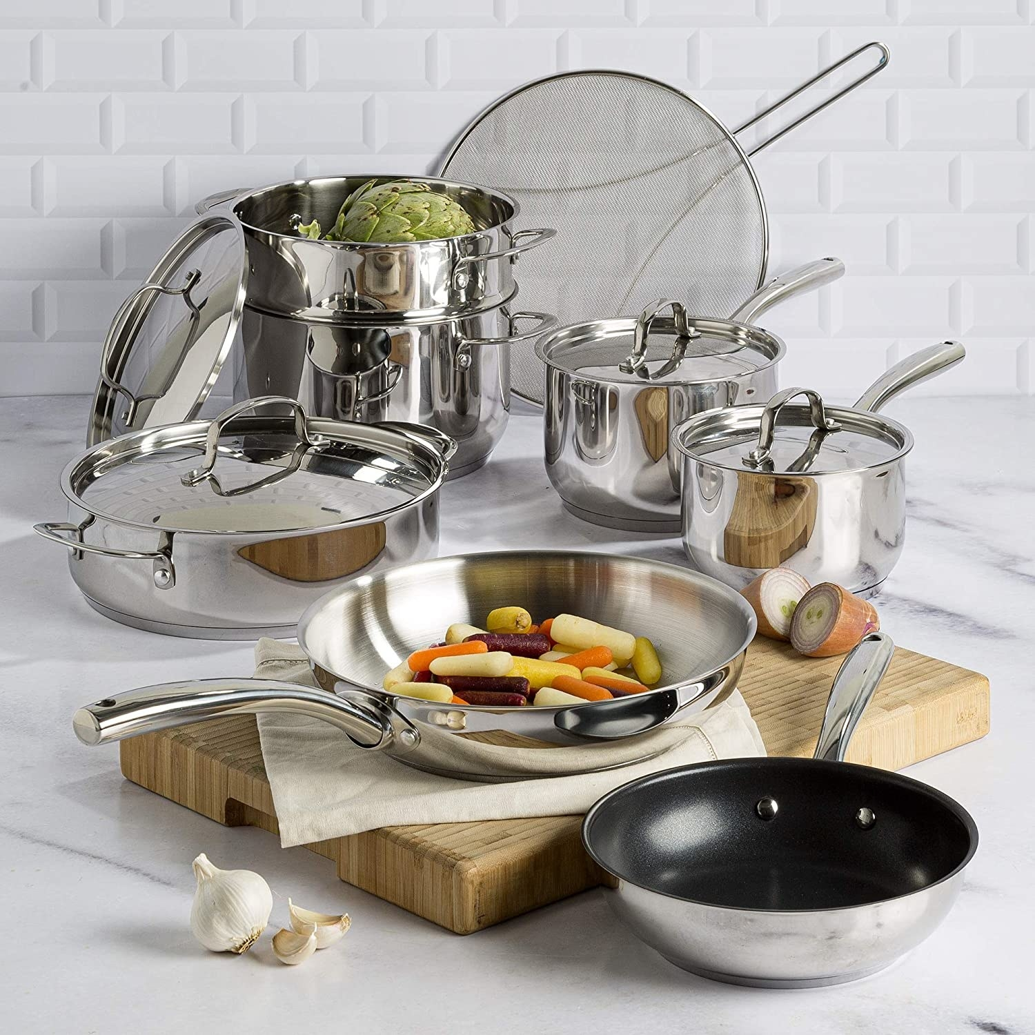 various sized pots and pans