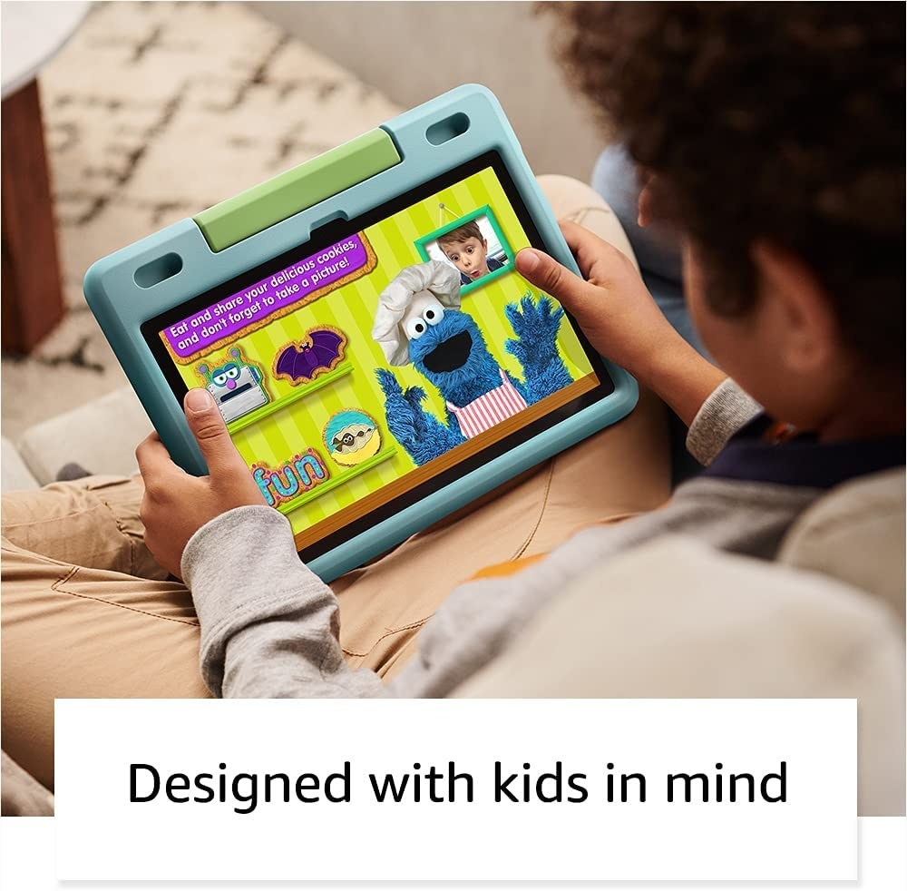 A child watching Sesame Street on the tablet