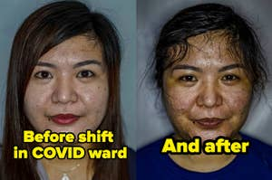 A nurse looking rested and put together before working as a nurse in a covid ward and after, exhausted
