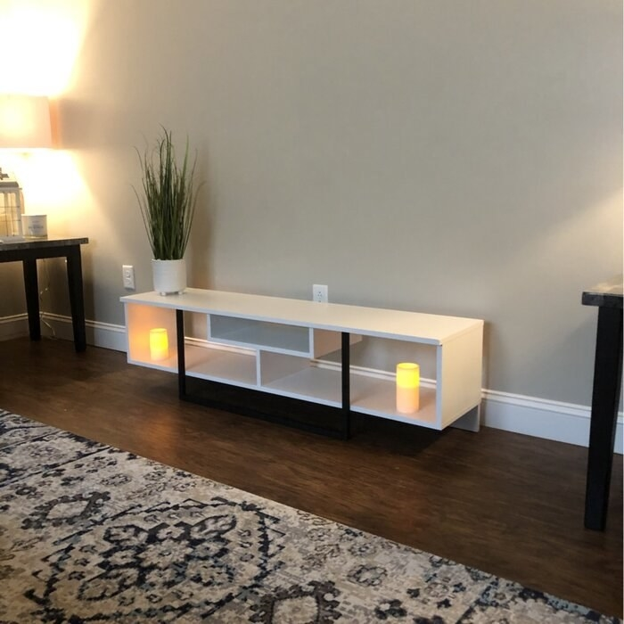 The TV stand in a reviewer's living room
