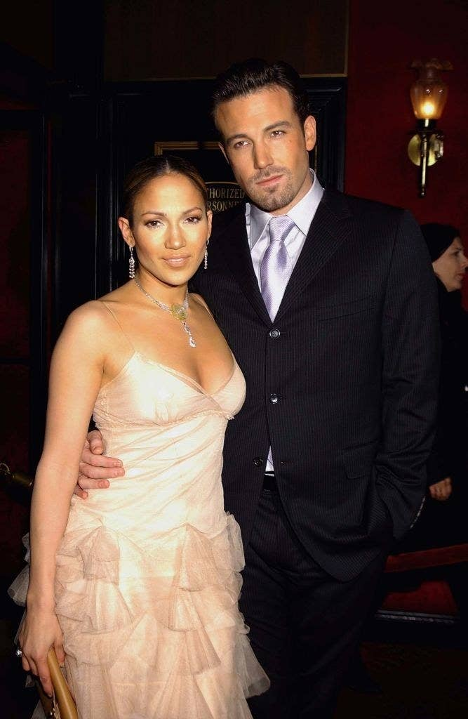 """Jennifer Lopez and Ben Affleck pose together at the """"Maid in Manhattan"""" premiere in 2002."""