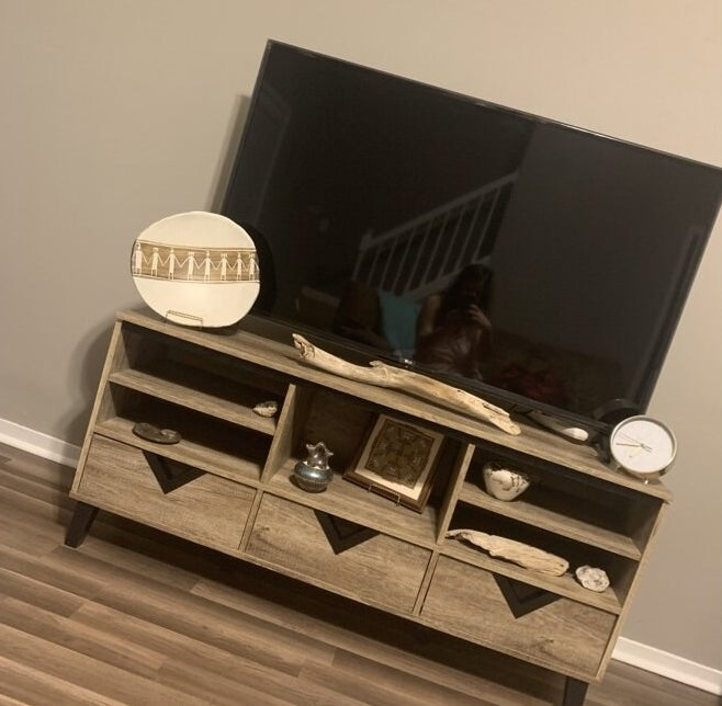The TV stand in a reviewer's home