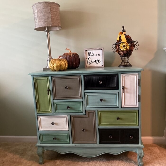 The apothecary chest with drawers of various sizes and shapes