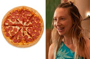 a pepperoni pizza on the left and one of the girls from pen15 on the right