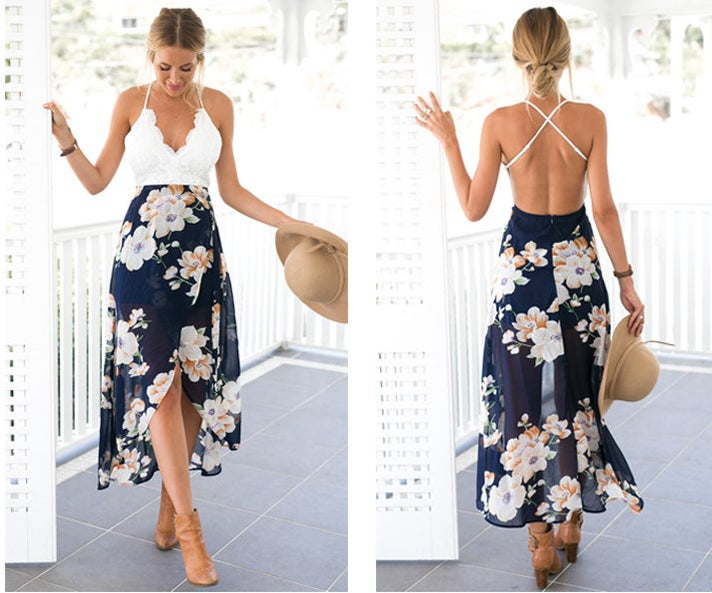 A person showing off the front and back of the dress
