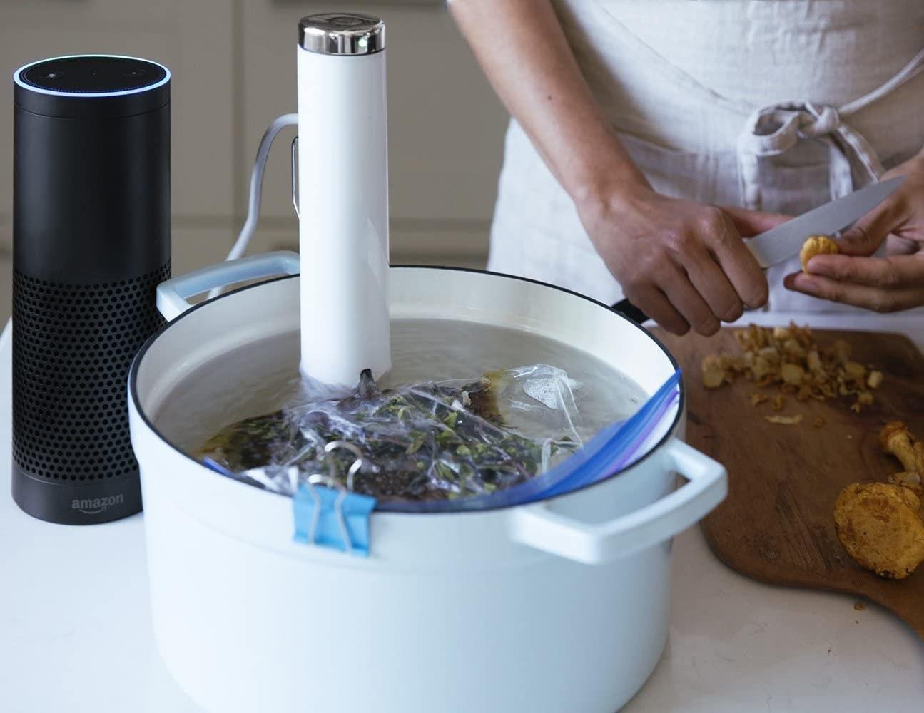 the sous vide in a pot