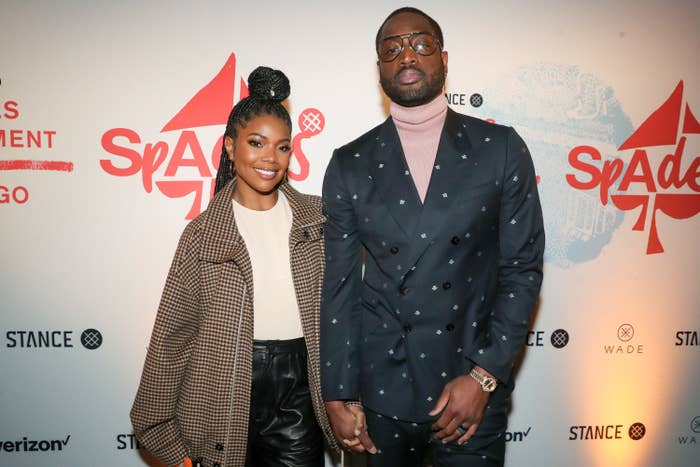 Gabrielle Union and Dwyane Wade attend Stance Spades At NBA All-Star 2020 at City Hall on February 15, 2020 in Chicago, Illinois
