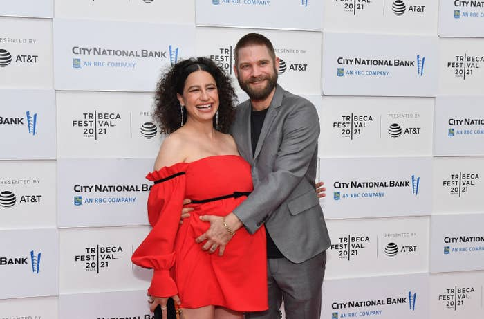 Ilana Glazer and David Rooklin are photographed at a red carpet event