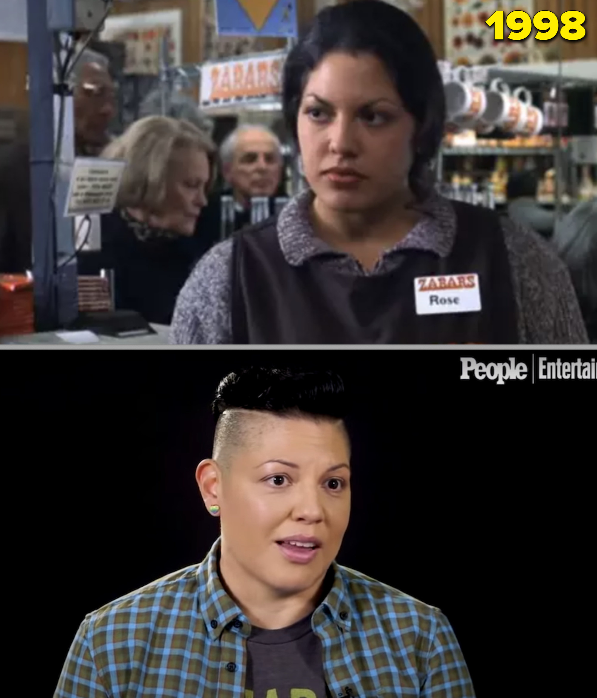 """Sara as a cashier in """"You've Got Mail"""" vs. Sara in an interview in 2008"""