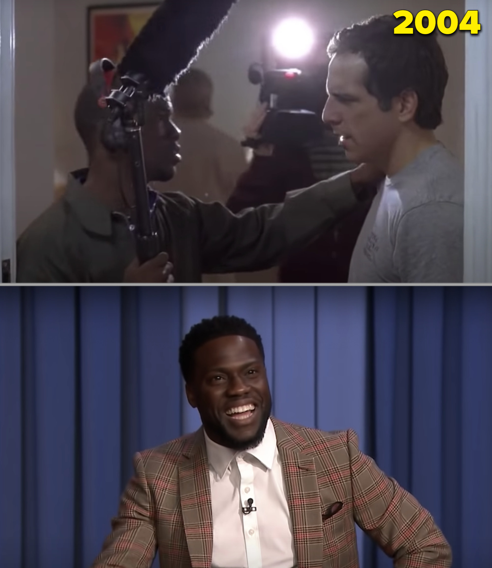 """Kevin Hart as an extra in """"Along Came Polly"""" vs. him on the """"Tonight Show"""" in 2018"""