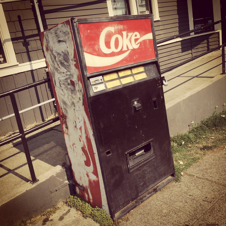 The vintage Coca-Cola machine