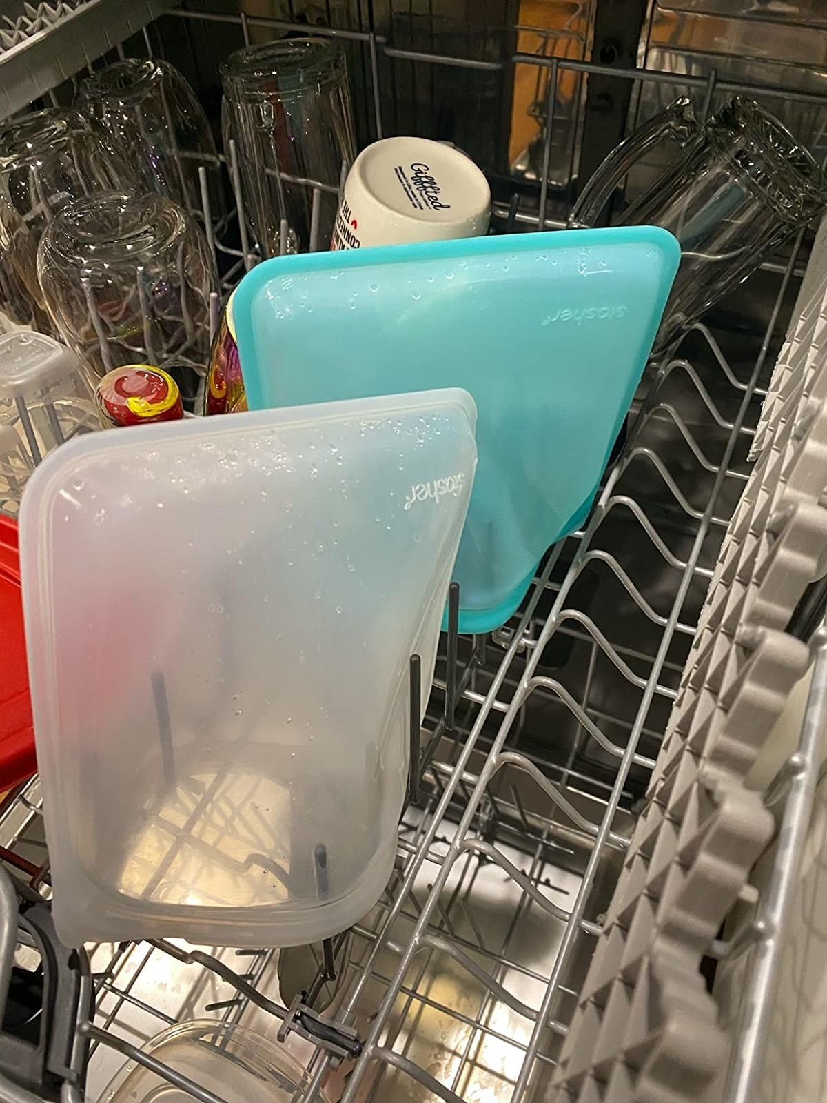 a reviewer's stasher bags in the dishwasher