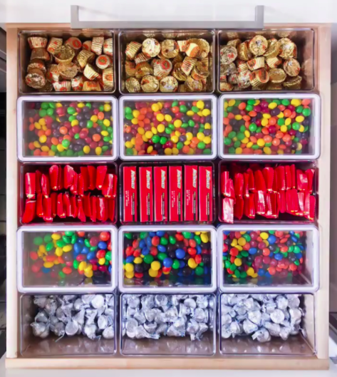 Reese's, Kit Kats, Skittles, M & Ms and Hershey Kisses organized by product