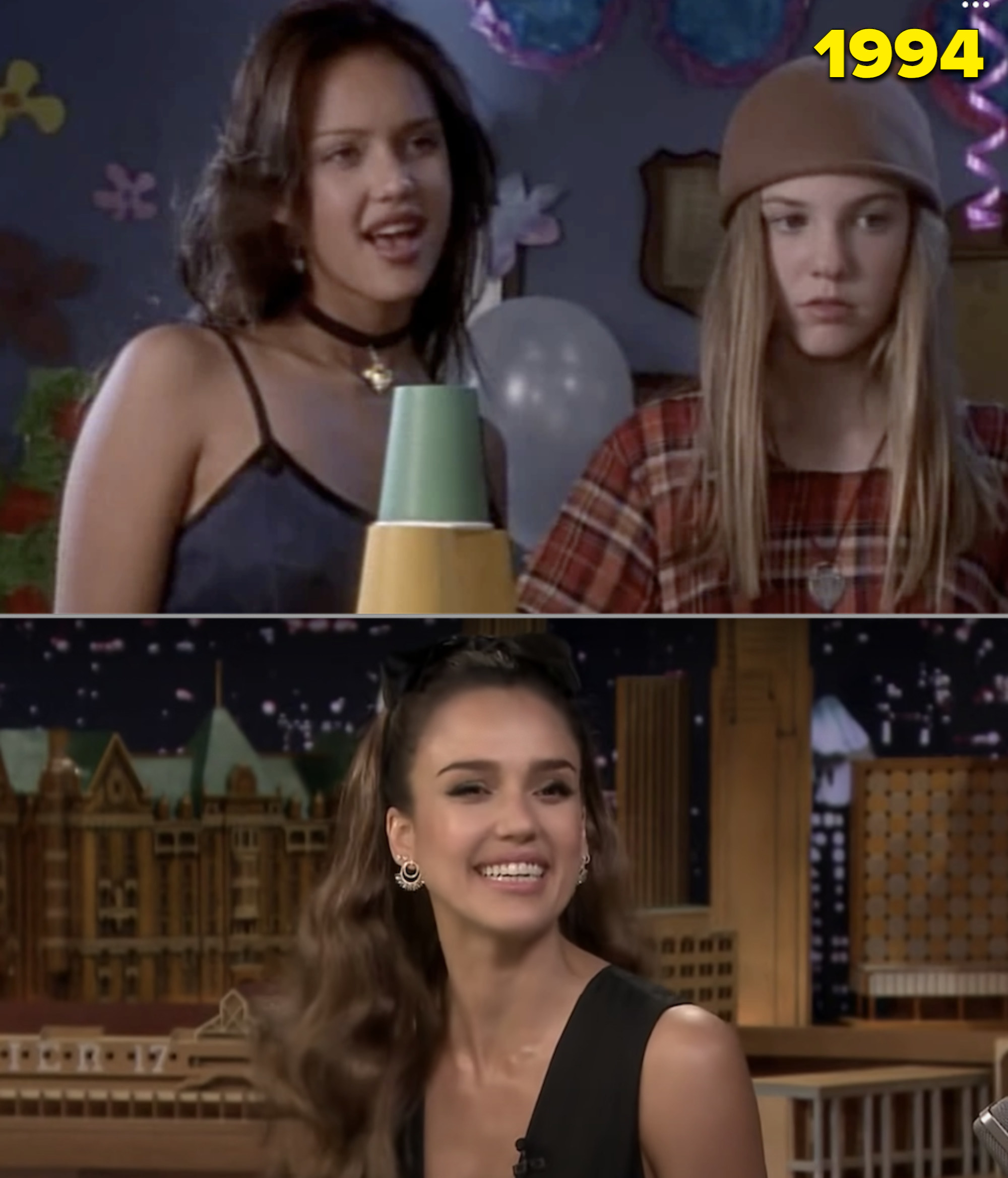 Jessica Alba on a Nickelodeon show in the early '90s vs. her on the Tonight Show in 2019