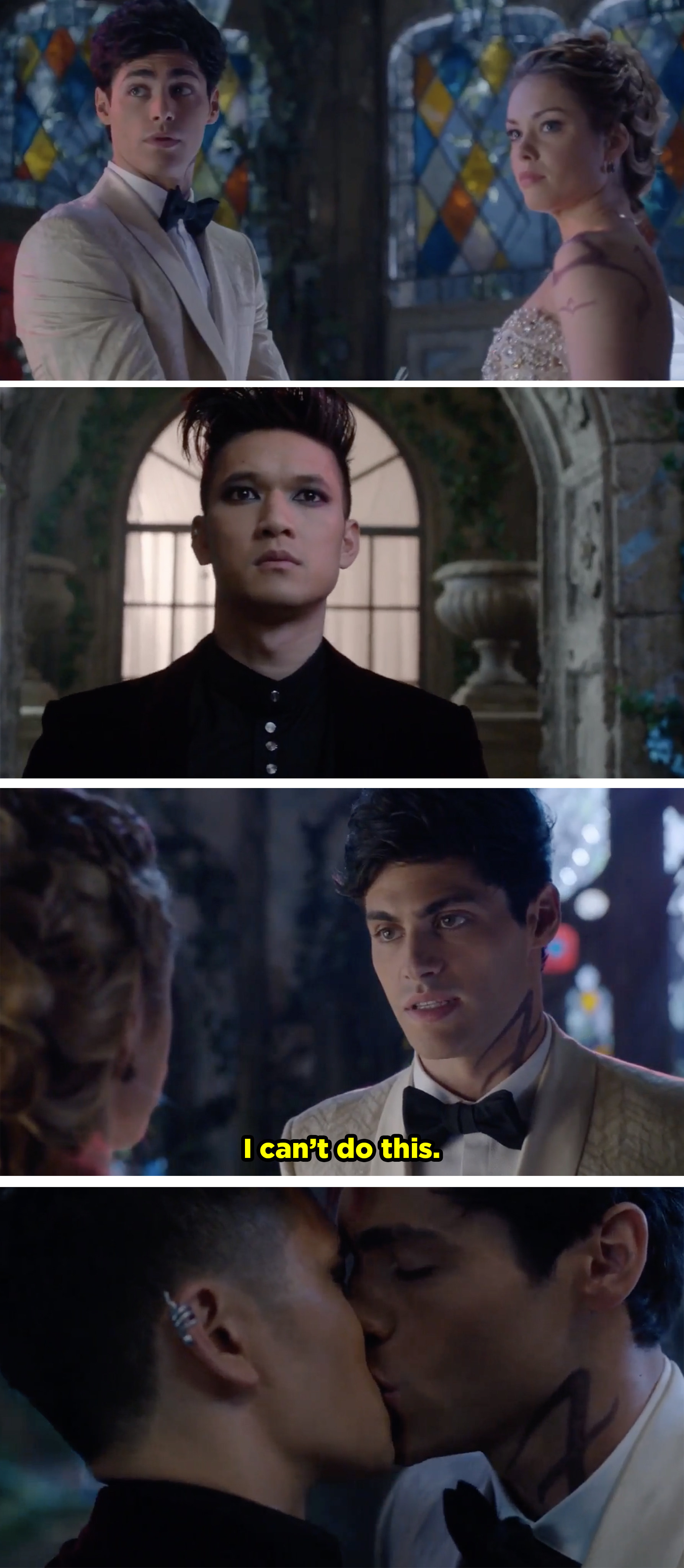 Magnus interrupts Alec's wedding and then Alec tells Lydia he can't marry her and he runs to Magnus and kisses him.