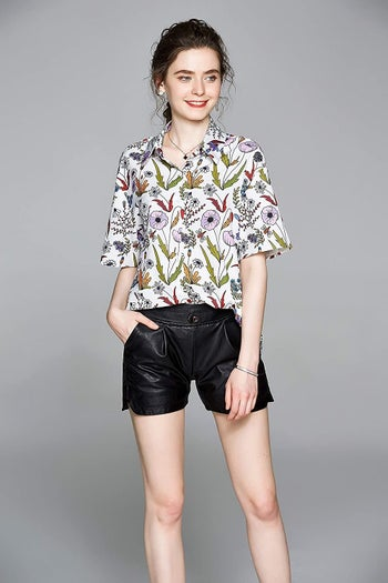 short sleeve collared shirt with floral pattern
