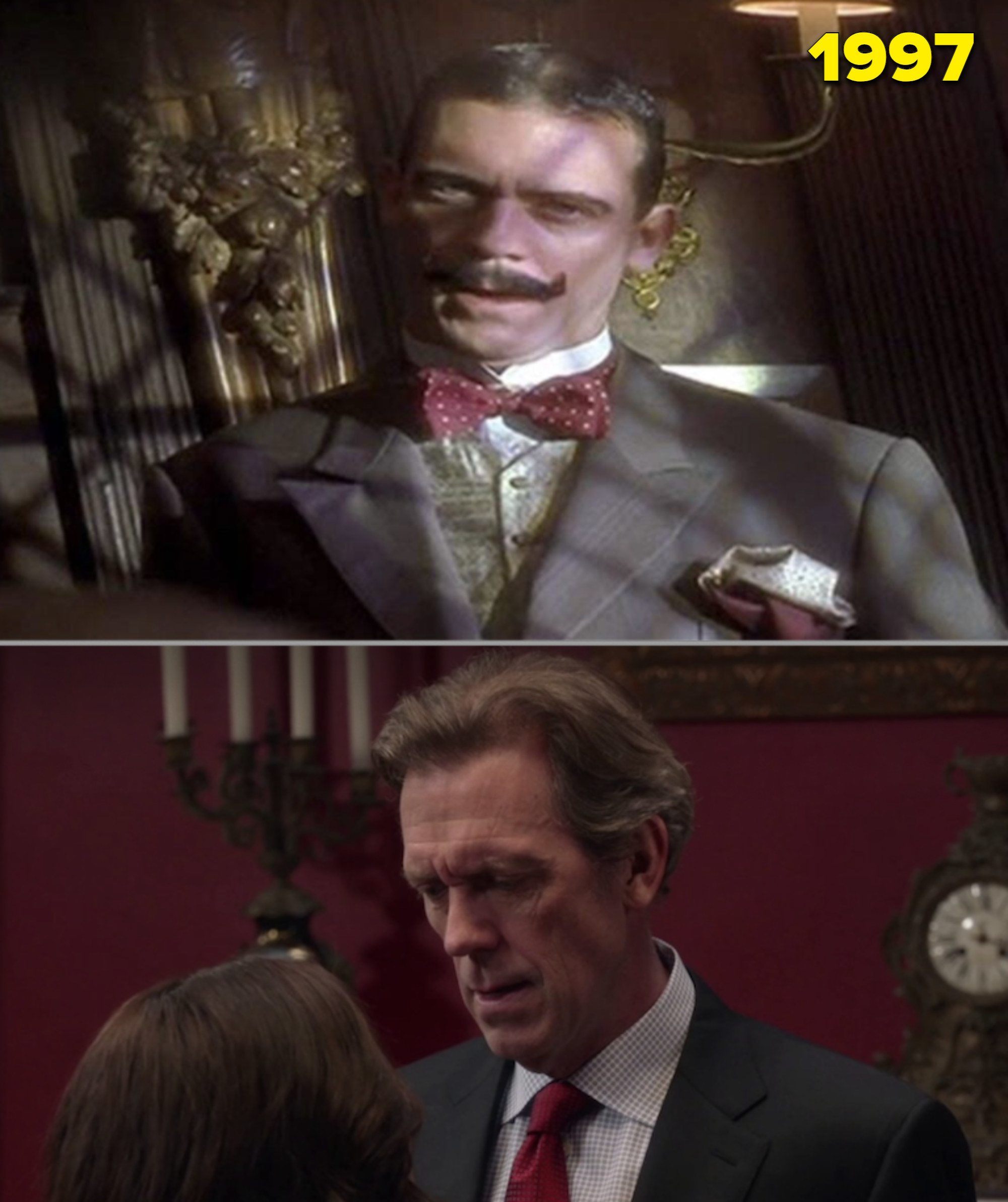 """Hugh Laurie with a mustache in """"Spice World"""" vs. him as the Vice President in """"Veep"""""""