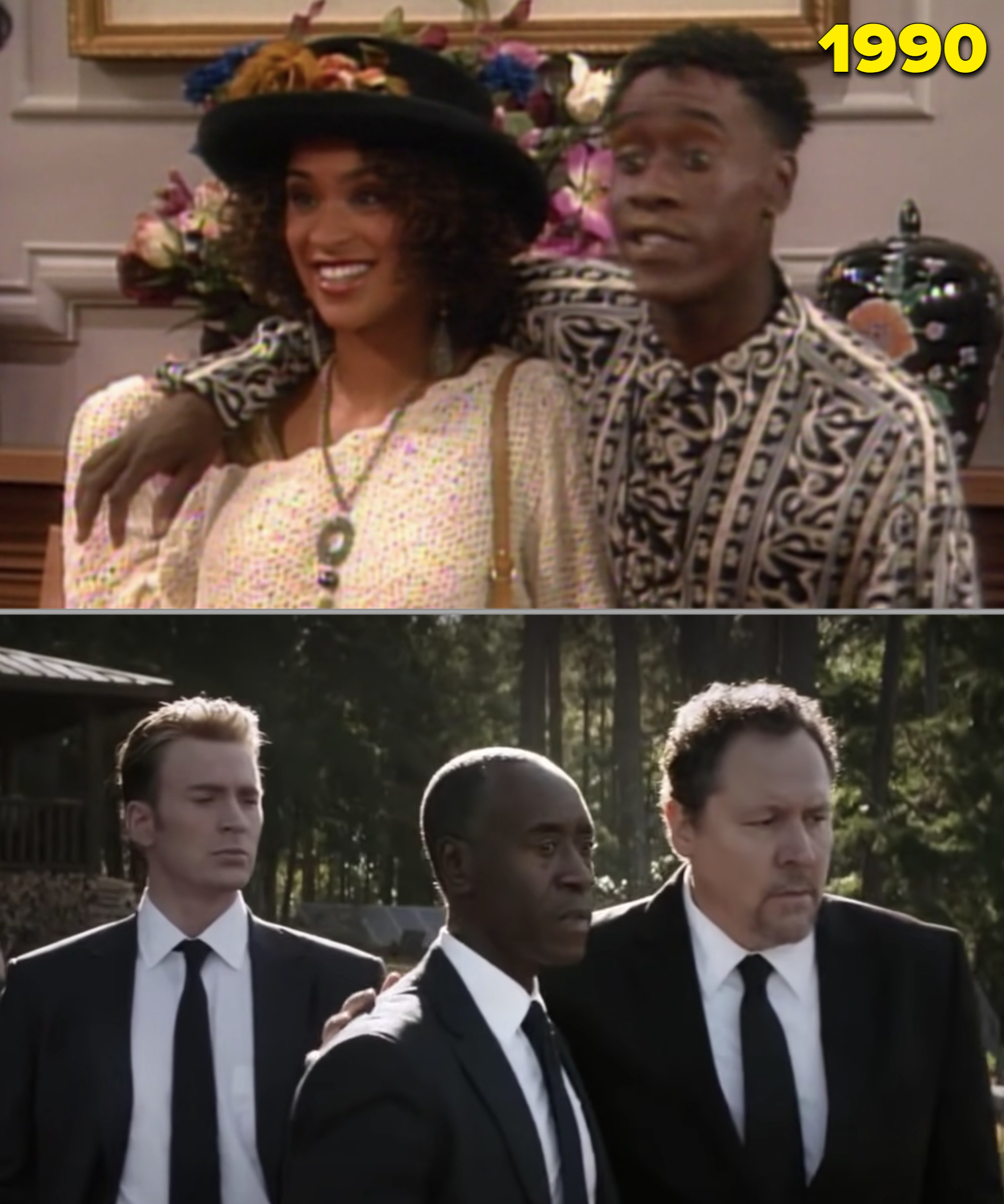 """Don Cheadle in """"Fresh Prince"""" with his arm around Hilary vs. him at Tony Stark's funeral in """"Avengers: Endgame"""""""