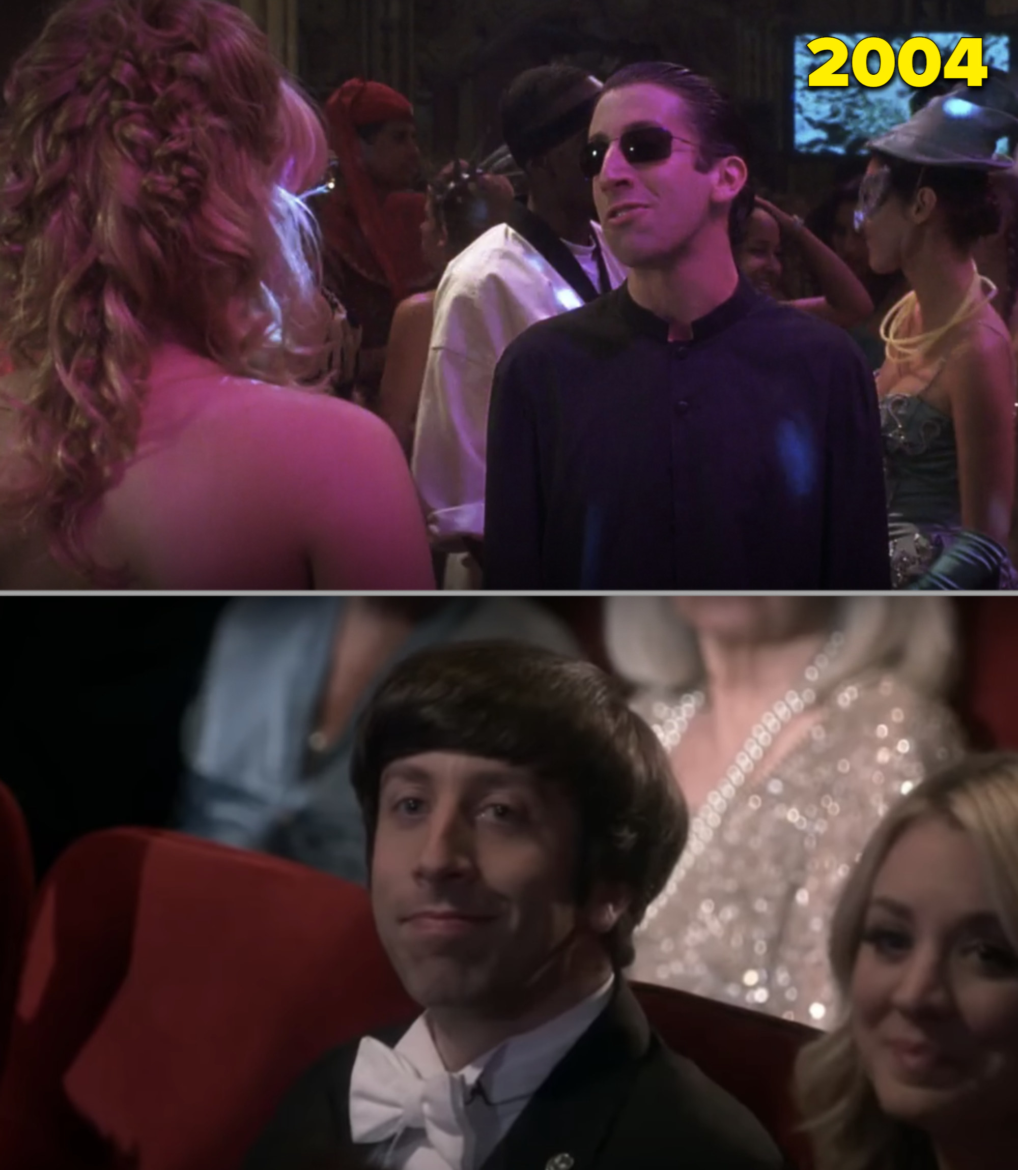 """Simon at the Halloween party in """"A Cinderella Story"""" vs. him in the final episode of """"The Big Bang Theory"""""""