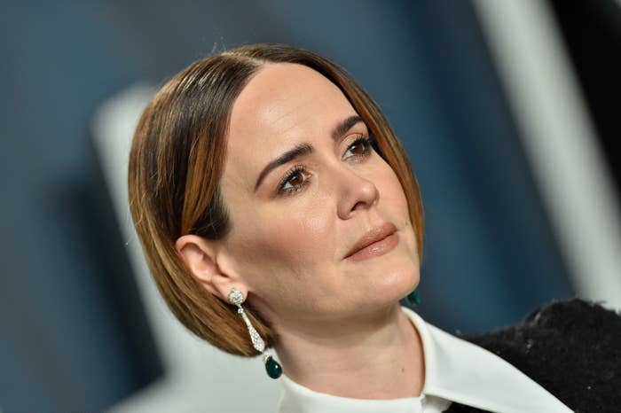Sarah Paulson is pictured at the 2020 Vanity Fair Oscar Party