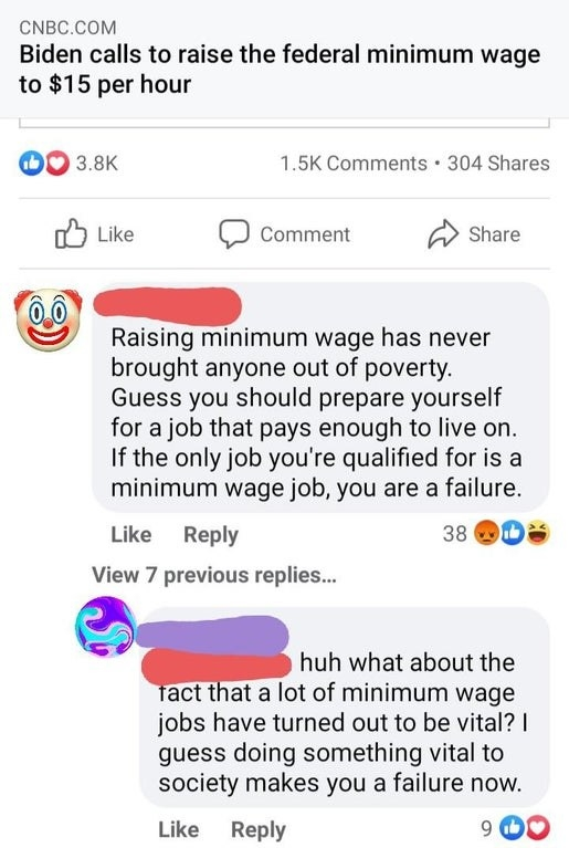 """""""If the only job you're qualified for is a minimum wage job, you are a failure""""; response: """"What about the fact that a lot of minimum wage jobs have turned out to be vital?"""""""