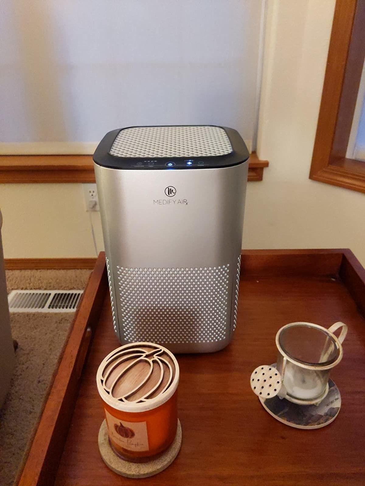 The silver air purifier