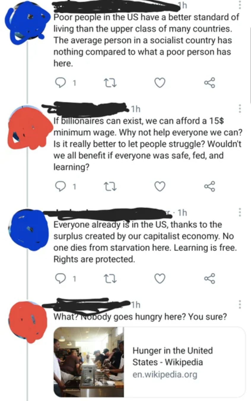 Series of tweets: Poor people in the US have better standard of living than upper class of many countries; why not help everyone we can; no one dies from starvation in the US; link to Wikipedia article on hunger in the US