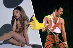 Thumbs up between Ariana Grande and Freddie Mercury